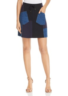McQ Alexander McQueen Denim Patchwork Skirt