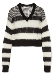 McQ Alexander McQueen Distressed striped mohair-blend sweater