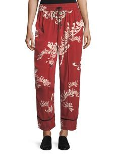 McQ Alexander McQueen Drawstring Wide-Leg Printed Silk Pajama Pants