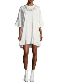 McQ Alexander McQueen Embellished Loose Ruffle Dress