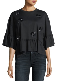 McQ Alexander McQueen Embellished Loose Ruffle Top