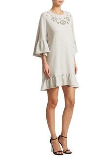 McQ Alexander McQueen Embellished Ruffle Bell-Sleeve Dress