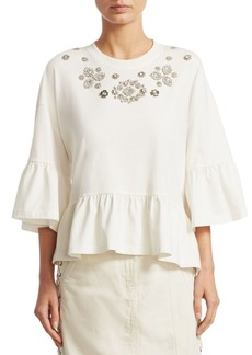 McQ Alexander McQueen Embellished Ruffle Cotton Bell-Sleeve Top