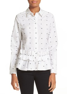 McQ Alexander McQueen Embroidered Swallow Peplum Shirt