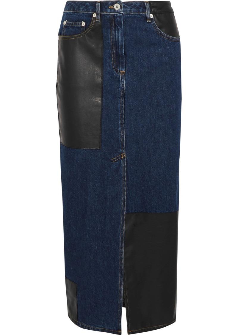 7bff8ce87 McQ Alexander McQueen Faux leather-paneled denim midi skirt | Skirts