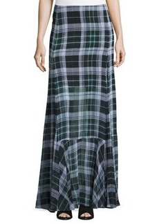 McQ Alexander McQueen Flared Fluid Plaid Silk Maxi Skirt