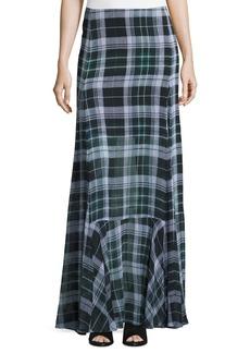 McQ Alexander McQueen Flared Fluid Plaid Silk Maxi Skirt