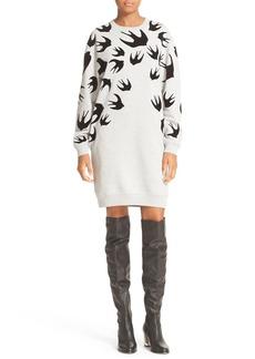 McQ Alexander McQueen Flocked Swallow Classic Sweatshirt Dress
