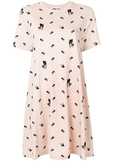 McQ Alexander McQueen floral and swallow print dress