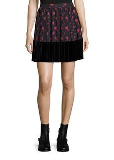 McQ Alexander McQueen Floral-Print A-Line Pleated Skirt w/ Velvet