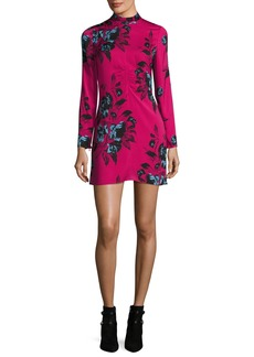 McQ Alexander McQueen Floral-Print Mock-Neck Long-Sleeve Mini Dress