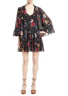 McQ Alexander McQueen Floral Print Shift Dress