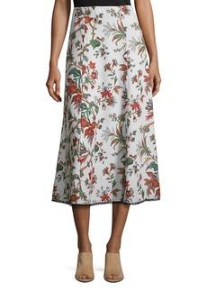 McQ Alexander McQueen Fluid Floral-Print Midi Skirt