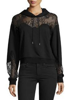 McQ Alexander McQueen Hooded Lace-Trim Sweatshirt