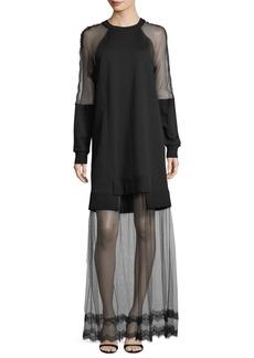 McQ Alexander McQueen Hybrid Long-Sleeve Sheer Dress