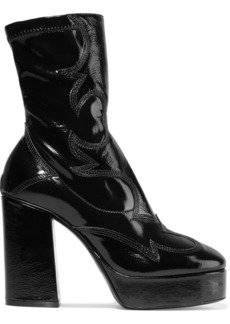 McQ Alexander McQueen Jean Embroidered Patent-leather Ankle Boots
