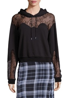 McQ Alexander McQueen Lace Inset Hooded Sweatshirt