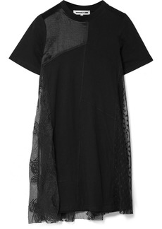 McQ Alexander McQueen Lace-paneled jersey mini dress