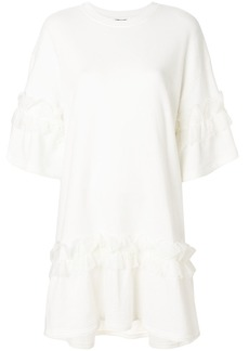 McQ Alexander McQueen lace trim ruffle dress - White
