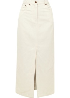 McQ Alexander McQueen Lace-up cotton and linen-blend denim midi skirt