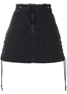Huge Surprise Online Sale Footaction lace-up denim mini skirt - Grey Alexander McQueen Discount Professional IHT0p