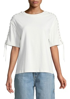 McQ Alexander McQueen Lace-Up Elbow-Sleeve Crewneck Cotton Top