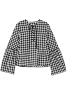 McQ Alexander McQueen Lace-up Gingham Cotton-voile Top