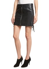 McQ Alexander McQueen Laced Paneled Leather Mini Skirt
