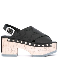 McQ Alexander McQueen metallic-studded wedge sandals - Black