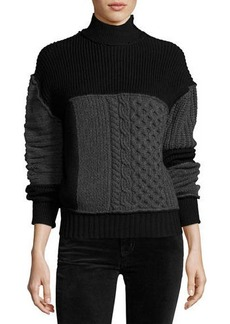 McQ Alexander McQueen Mixed Cable-Knit Turtleneck Wool Sweater