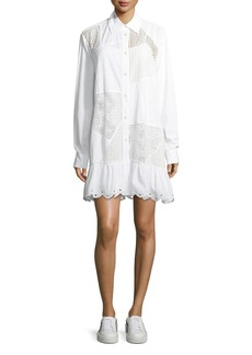 McQ Alexander McQueen Mixed-Media Button-Front Long-Sleeve Cotton Dress