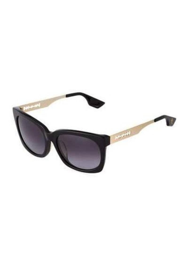 McQ Alexander McQueen Modified Rectangle Acetate & Metal Combo Sunglasses