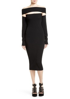 McQ Alexander McQueen Off the Shoulder Dress with Removable Sleeves