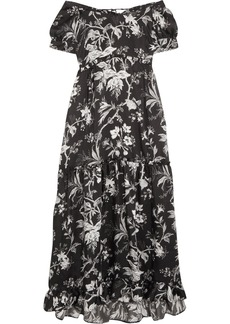 McQ Alexander McQueen Off-the-shoulder Open-back Printed Satin-twill Midi Dress