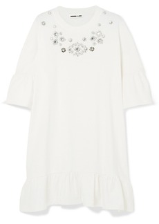 McQ Alexander McQueen Oversized Embellished Ruffled Cotton-jersey Mini Dress