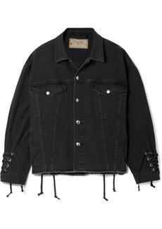 McQ Alexander McQueen Oversized lace-up frayed denim jacket