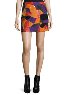 McQ Alexander McQueen Patch-Cut Colorblocked Leather Skirt