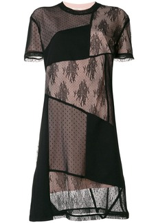 McQ Alexander McQueen patchwork lace detail dress - Black