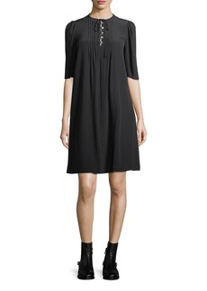 McQ Alexander McQueen Pintuck Half-Sleeve A-Line Silk Dress
