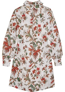 McQ Alexander McQueen Pintucked Floral-print Chiffon Mini Dress