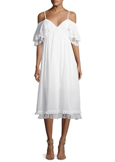 McQ Alexander McQueen Pleated Flutter-Sleeve Midi Dress