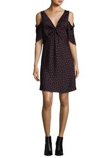 McQ Alexander McQueen Polka-Dot Satin Cold-Shoulder Mini Dress