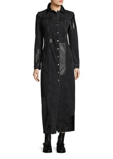 McQ Alexander McQueen Recycled Denim Button-Front Long-Sleeve Duster Coat