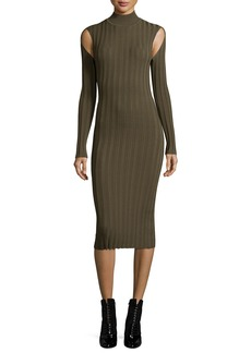 McQ Alexander McQueen Ribbed Lace Turtleneck Long-Sleeve Fitted Dress