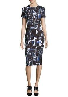 McQ Alexander McQueen Richter Print Midi Sheath Dress