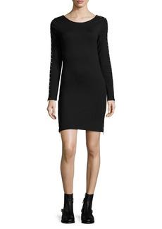 McQ Alexander McQueen Round-Neck Zip-Sleeve Fitted Short Dress