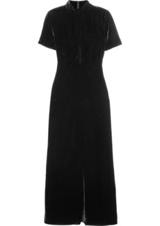 McQ Alexander McQueen Ruched velvet turtleneck maxi dress