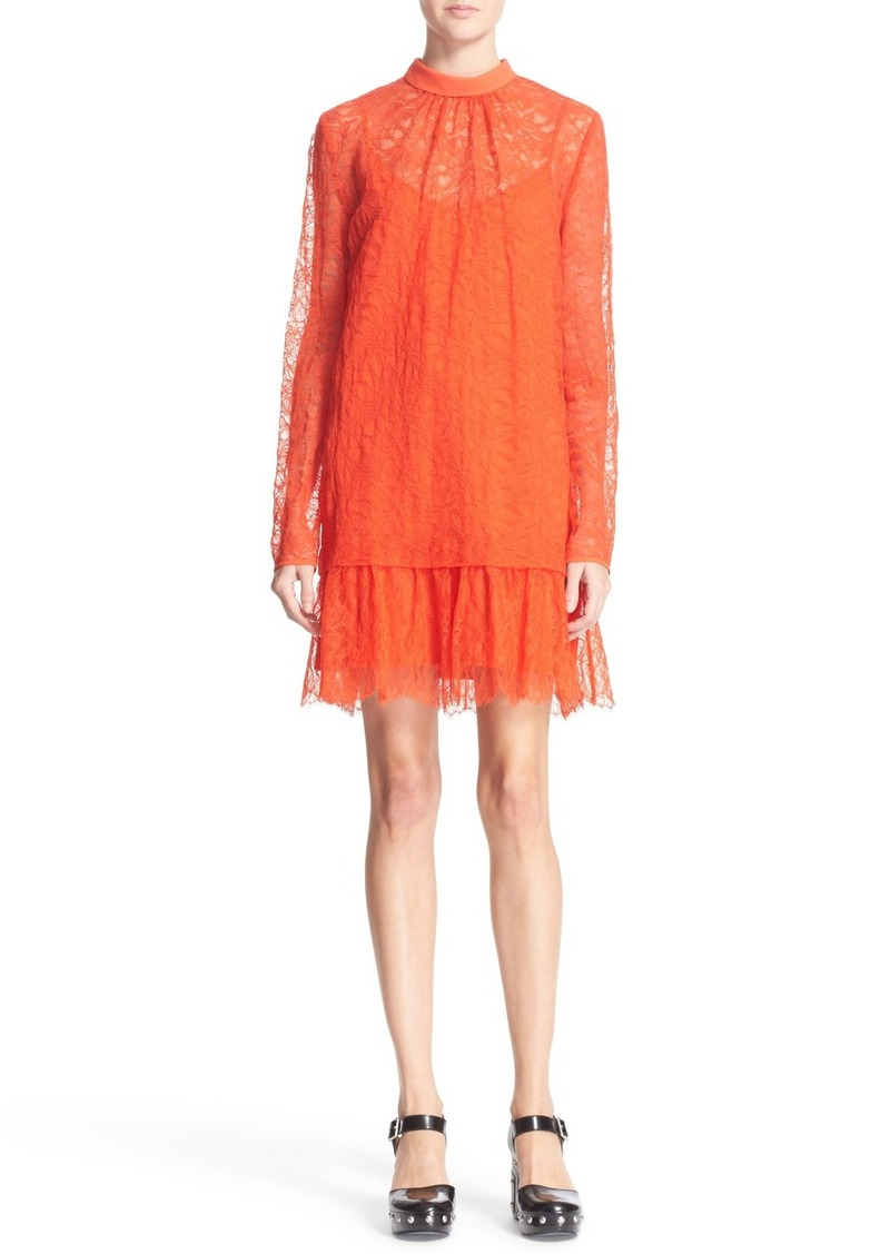 McQ Alexander McQueen Ruffle Hem Lace Dress