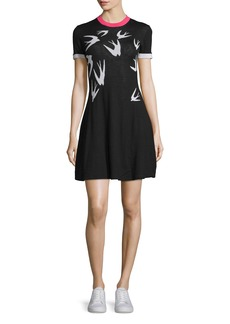 McQ Alexander McQueen Short-Sleeve Jacquard Skater Dress