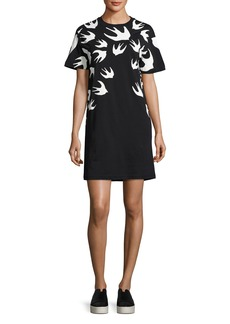 McQ Alexander McQueen Short-Sleeve Jersey Swallow-Print T-Shirt Dress